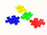 glass puzzle pieces in attractive colours poster
