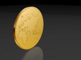 european coin over black poster