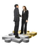 business couple shaking hands on puzzle pieces poster