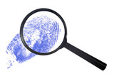 magnifying glass over a blue finger print poster