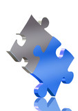 balancing blue and silver puzzle pieces poster
