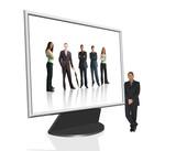 business computer screen - online team poster