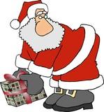 santa picking up a wrapped box poster