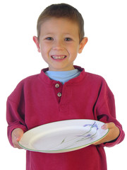 boy holding out a plate
