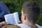 man reading bible poster
