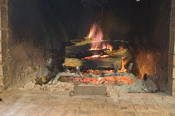warm winter fire place