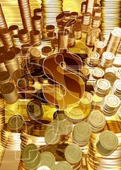 dollar token stacks 3d