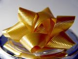 yellow christmas bow poster