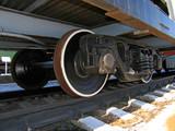 wheels of old locomotive poster