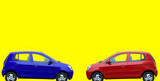 red and blue cars poster