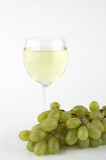 white wine with grapes poster