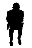 businessman with laptop silhouette poster