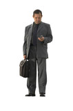 businessman with cell-phone isolated poster