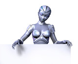 robot with top edge of blank sign poster