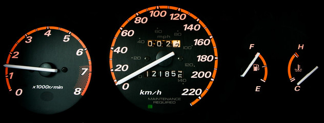 detail: glowing dashboard