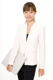 laptop and businesswoman poster