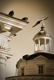morning in an orthodox temple_stylization grain poster