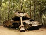 old american tank in cu chi: vietnam poster