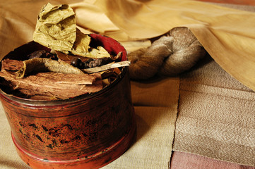 laos, luang prabang: natural dyestuff for silk