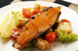 salmon; grilled with salad