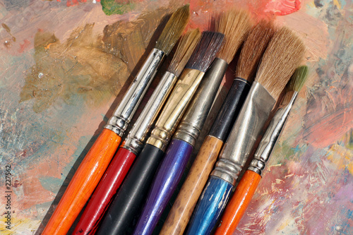 paint brushes and paint palette