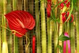 an arrangement of flora and fauna poster