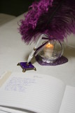 guest book wedding purple pen candle poster