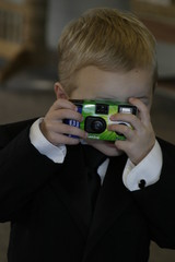 boy with disposable camera, picture