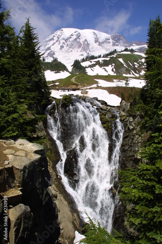 myrtle falls and mount rainier