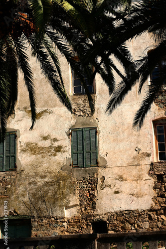 Foto op Plexiglas Wand corsican houses and buildings