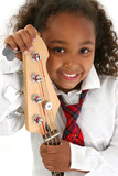 beautiful young girl with bass guitar poster