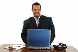 african american business man with laptop poster