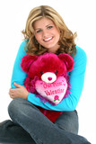 blonde woman valentine bear poster