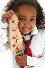 beautiful young girl with bass guitar