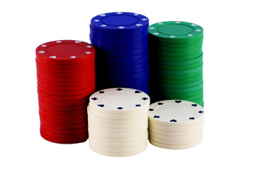 five stacks of poker chips isolated on white