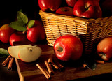 apples with cinnamon sticks poster