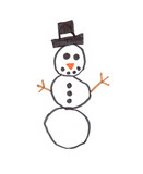 childs hand drawn snowman poster