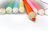orange pencil crayon isolated w/ drawn effect poster
