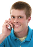 cute male teen on cellphone poster