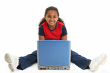 child on floor with laptop poster