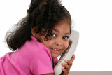beautiful little girl on phone poster
