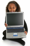 adorablel girl on floor with laptop poster