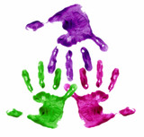 connected finger painted hands poster