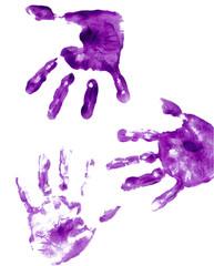 purple painted hand prints