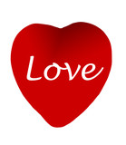 red heart with love-clipping path poster