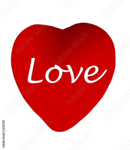 red heart with love-clipping path