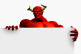 devil with edge of blank sign poster