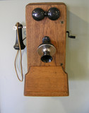 old vintage hand cranked telephone poster