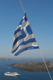 boat and greek flag poster