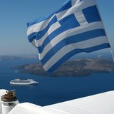 greek flag and the sea poster